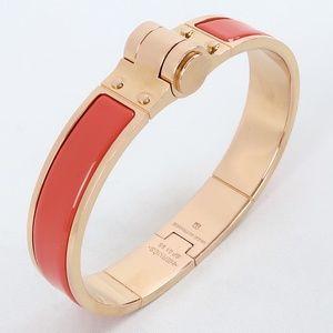 Hermès Charniere Uni Hinged Rose Enamel Bracelet